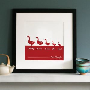 Personalised Gaggle Of Geese Family Print